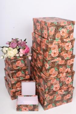 """Набор подарочных коробок из 10шт - Прямоугольник """"Цветы"""" 37*29*16см SY605-1796"""