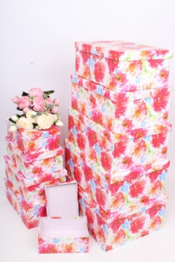 """Набор подарочных коробок из 10шт - Прямоугольник """"Цветы"""" 37*29*16см SY605-1706"""