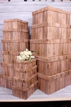 Набор подарочных коробок из 15шт - Прямоугольник Дерево 52*40*23 К246