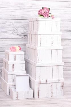 """Набор подарочных коробок из 10шт - Прямоугольник """"Доска бело/золотая"""" 37*29*16см К251"""