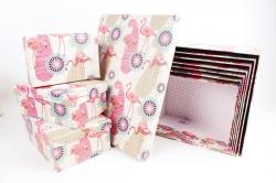 """Набор подарочных коробок из 10шт - Прямоугольник """"Фламинго"""" SY605-1558"""