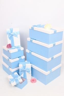 """Набор подарочных коробок из 10шт - Прямоугольник """"Голубой с бантом"""" 33х25*15см SY604-6712"""