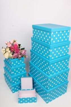"""Набор подарочных коробок из 10шт - Прямоугольник """"Горох голубой"""" 37*29*16см SY605-950"""
