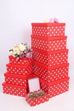 """Набор подарочных коробок из 10шт - Прямоугольник """"Горох красный"""" 37*29*16см SY605-948"""