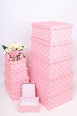 """Набор подарочных коробок из 10шт - Прямоугольник """"Горох розовый"""" 37*29*16см SY605-984"""