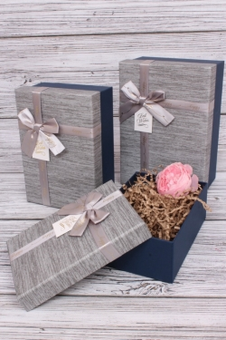 Набор подарочных коробок из 3шт - Прямоугольник Happy индиго 22*15*9см В187