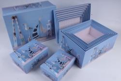 """Набор подарочных коробок из 10шт - Прямоугольник """"Интерьер голубой"""" 37*29*16см  SY605-1761"""