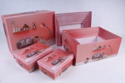 """Набор подарочных коробок из 10шт - Прямоугольник """"Интерьер розовый"""" 37*29*16см  SY605-1759"""