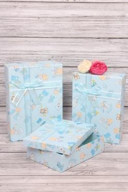 Набор подарочных коробок из 3шт - Прямоугольник Карапузы голубой 28*20*9см  В347
