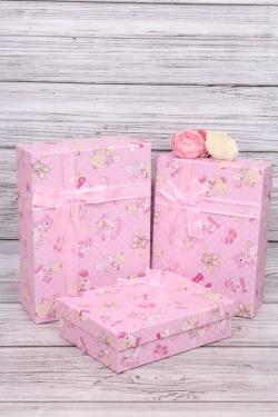 Набор подарочных коробок из 3шт - Прямоугольник Карапузы розовый 28*20*9см  В347