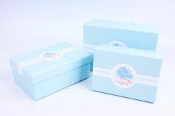 Набор подарочных коробок из 3шт - Прямоугольник крафт горошек голубой R33