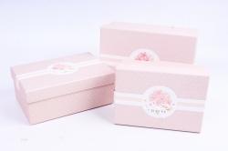 Набор подарочных коробок из 3шт - Прямоугольник крафт горошек розовый  R33