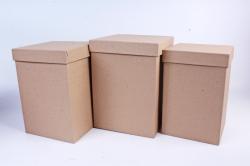 Набор подарочных коробок из 3шт - Куб высокий Крафт №66   Пин66-К  (М)