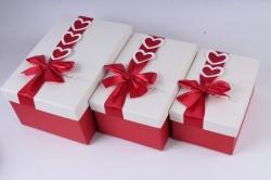 Набор подарочных коробок из 3шт - Прямоугольник красный бант с сердцами 25*17*12см К747