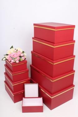 """Набор подарочных коробок из 10шт - Прямоугольник """"Красный с золотой полосой"""" 37*29*16см  SY605-1290"""
