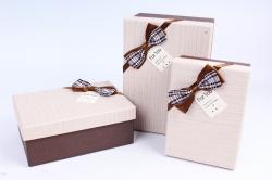 Набор подарочных коробок из 3шт - Прямоугольник лён бежевый  R34