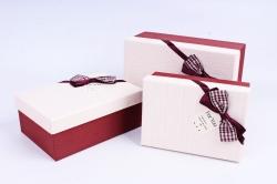 Набор подарочных коробок из 3шт - Прямоугольник лён бордо  R34