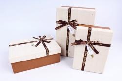 Набор подарочных коробок из 3шт - Прямоугольник лён песочный  R34