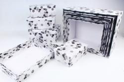 """Набор подарочных коробок из 10шт - Прямоугольник """"Листочки серые"""" SY7486-14"""