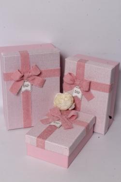 Набор подарочных коробок из 3шт - Прямоугольник махровый бант розовый 22*15*9см  В615