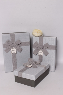 Набор подарочных коробок из 3шт - Прямоугольник махровый бант серый 22*15*9см  В615