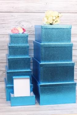 Набор подарочных коробок из 10шт - Прямоугольник металл голубой 37*29*16см SY605-RED