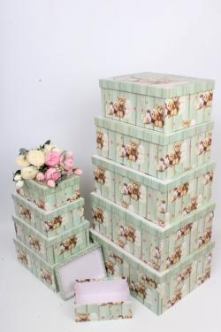 """Набор подарочных коробок из 10шт - Прямоугольник """"Мишки"""" 37*29*16см SY605-1712"""