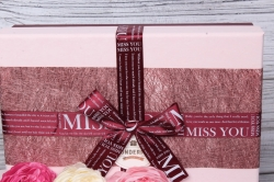 """Набор подарочных коробок из 3шт - Прямоугольник """"MISS YOU"""" бордо 32*24*11см  В484"""