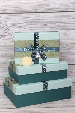 """Набор подарочных коробок из 3шт - Прямоугольник """"MISS YOU"""" изумруд 32*24*11см  В484"""