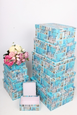 """Набор подарочных коробок из 10шт - Прямоугольник """"Морской"""" 37*29*16см SY605-1790"""