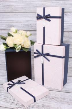 Набор подарочных коробок из 3шт - Прямоугольник Мрамор розовый 22*15*9см В195
