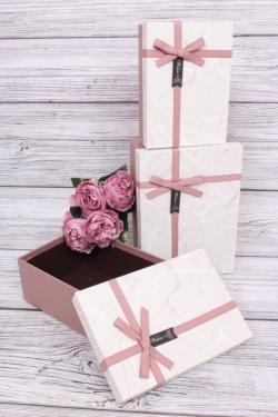 Набор подарочных коробок из 3шт - Прямоугольник Мрамор серый 22*15*9см В195