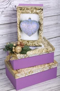 Набор подарочных коробок из 3шт - Прямоугольник НГ № 74 Новогоднее Сердце  23*16*9,5см Пин74НГ-21-4