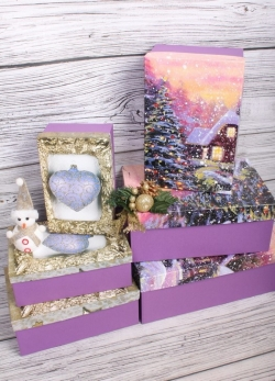 Набор подарочных коробок из 6шт - Прямоугольник НГ № 106 Новогодний микс  32*20*13см Пин106НГ-25