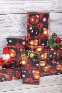 Набор подарочных коробок из 6шт - Прямоугольник НГ № 106 Рубиновая россыпь  32*20*13см Пин106НГ-26