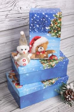 Набор подарочных коробок из 3шт - Прямоугольник НГ № 74 Санта Тедди  23*16*9,5см Пин74НГ-21-5