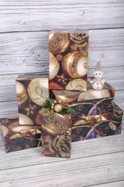 Набор подарочных коробок из 6шт - Прямоугольник НГ № 106 Золотой ажур  32*20*13см Пин106НГ-27