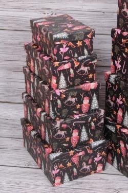 Набор подарочных коробок из 10шт - Прямоугольник НГ Бал Щелкунчика 37*29*16см  N132