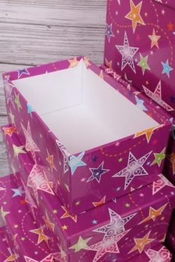 Набор подарочных коробок из 10шт - Прямоугольник НГ Цветной звездопад 37*29*16см  К316