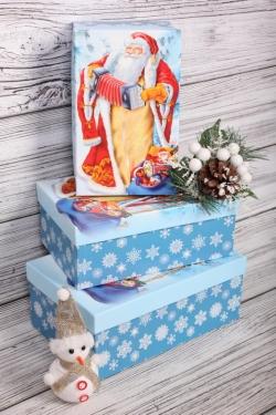 Набор подарочных коробок из 3шт - Прямоугольник НГ Дед Мороз с гармошкой 23*16*9,5см  Пин74НГ-21-3