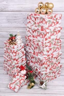 Набор подарочных коробок из 10шт - Прямоугольник НГ Домики 37*29*16см  N133