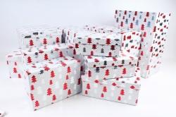 Набор подарочных коробок из 10шт - Прямоугольник НГ Елки на белом N34