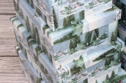 Набор подарочных коробок из 10шт - Прямоугольник НГ Ёлки зелёные 37*29*16см  N131
