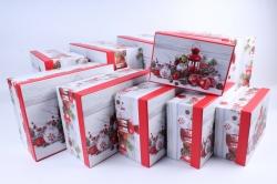 Набор подарочных коробок из 10шт - Прямоугольник НГ Фонарь и шары   SY605-1600NG