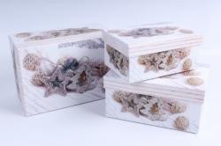 Набор подарочных коробок из 3шт - Прямоугольник НГ Композиция на белом  SY3367-1619NG