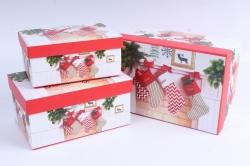 Набор подарочных коробок из 3шт - Прямоугольник НГ Носки SY3367-286NG
