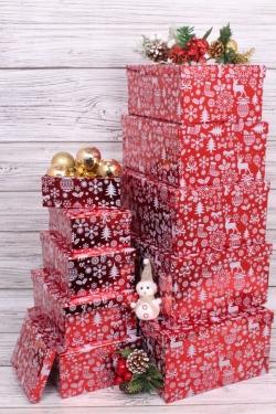Набор подарочных коробок из 10шт - Прямоугольник НГ Олени на красном 37*29*16см  N35