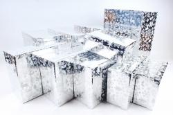 Набор подарочных коробок из 10шт - Прямоугольник НГ Олени на серебре N36