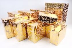 Набор подарочных коробок из 10шт - Прямоугольник НГ Олени на золоте N35