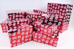 Набор подарочных коробок из 10шт - Прямоугольник НГ Подарки на красном N34